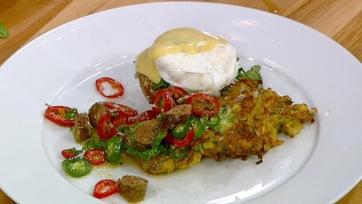 Zucchini-Potato Pancakes with Tomato, Merguez and Zabaglione