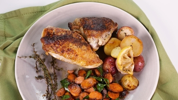 Pan Roasted Chicken with Potatoes and Carrots