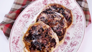 Blackberry Brown Sugar Swirl Pancakes with Bacon Bourbon Maple Syrup