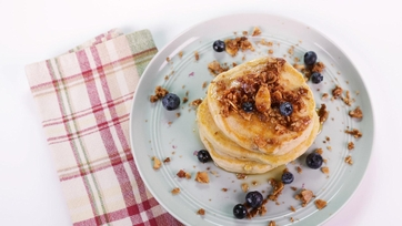 Blueberry Sour Cream Pancakes with Almond Oat Crumble