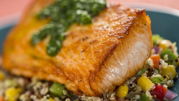 Verlasso Salmon with Quinoa Salad and Arugula Chimichurri