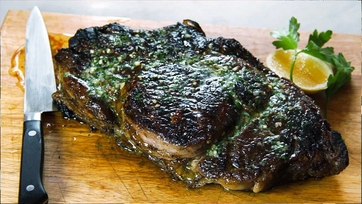 Grilled Ribeye Steak with Parsley-Shallot Butter