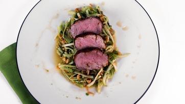 Spiced Grilled Pork Tenderloin with Broccoli Carrot Slaw