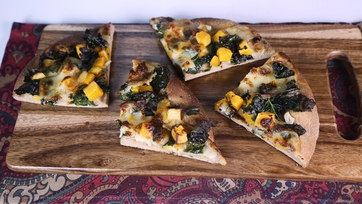 Kale and Butternut Squash Whole Wheat Pizza
