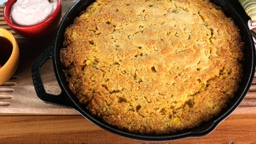 Skillet Cornbread with Maple Syrup and Chipotle Crema
