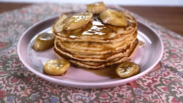 Brown Sugar Pancakes with Bananas Flambe