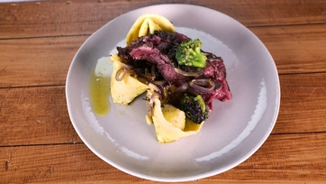 Skirt Steak with White Bean Tortelloni