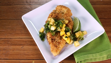 Macadamia Crusted Chicken with Mango-Citrus Salsa