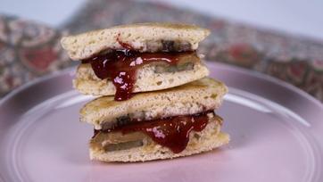 PB & B Pancake Sandwiches