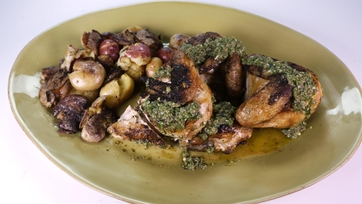 Spatchcock Chicken with Smashed Potatoes and Salsa Verde