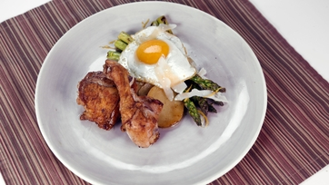 Pan-Roasted Chicken with Asparagus Milanese