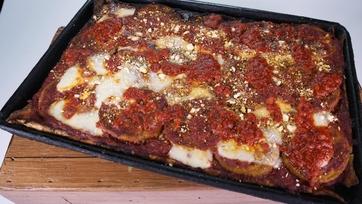 Eggplant Pizza with Sicilian Crust