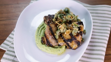 Grilled Chicken Thighs with Fava Bean Hummus