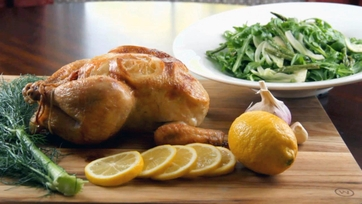Lemon-Fennel Roasted Chicken with Green Bean Salad