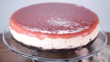 Buttermilk Cheesecake with a Rhubarb Glaze