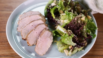 Coconut-Pineapple Pork with Baby Lettuce Salad