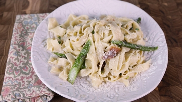 Tagliatelle with Brown Butter, Asparagus, Spring Onions & Prosciutto