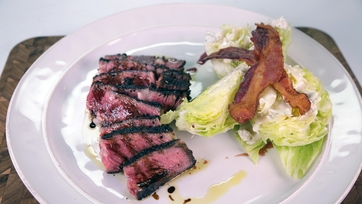 Babbo Rib-eye Steak with Bacon Wedge Salad