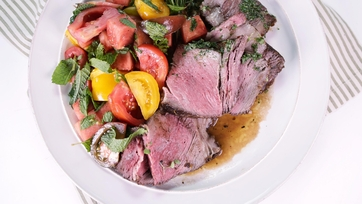 Double Cut Rib Steak Tagliata with Tomato Watermelon Salad