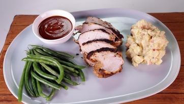 BBQ-Brined Spiced Turkey Breast with Potato Salad