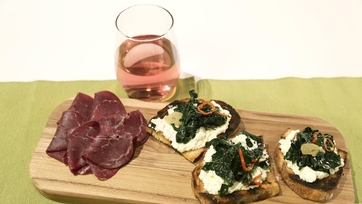 Black Kale & Ricotta Bruschetta with Salumi