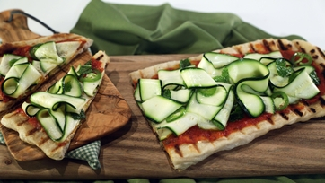 Grilled Pizza with Shaved Zucchini Salad
