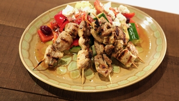 Chicken Kabobs with Greek Village Salad