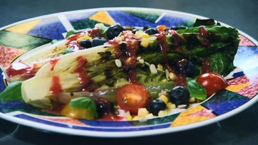 Grilled Romaine & Summer Vegetable Salad with Blueberry Vinaigrette