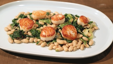 Pan-Seared Scallops with White Beans & Escarole