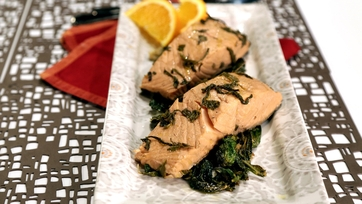 Green Tea-Poached Salmon with Bok Choy