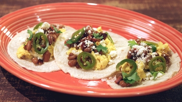 Egg & Cheese Tacos with Chorizo & Pinto Beans