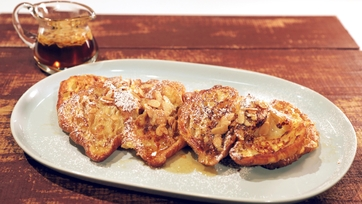 Almond Croissant French Toast with Almond Butter Syrup