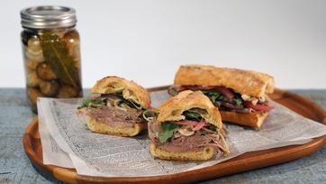 Roast Beef Sammie with Pickled Mushroom Salad