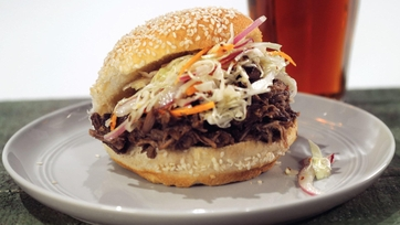 Pulled Pork Sammies with Mustard Caraway Slaw
