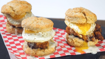 Fried Chicken and Egg on a Biscuit with Gravy