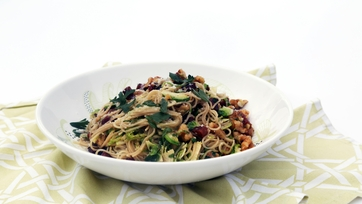 Angel Hair with Brussels Sprouts, Bacon and Walnuts