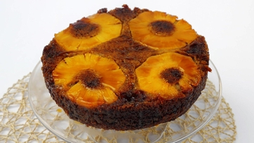 Banana Upside Down Cake with Pineapple Rum Caramel