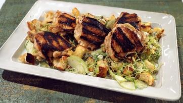 Grilled Chicken Thighs with an Autumn Panzanella Salad