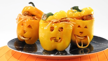 Jack-O-Lantern Spaghetti and Meatballs