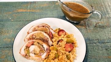 New Orleans Red Beans & Rice Stuffed Turkey with Sazerac Gravy