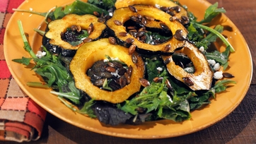 Acorn Squash with Baby Bitter Greens