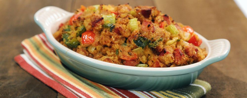 Cornbread Stuffing with Jalapeno and Andouille Recipe by Mario Batali ...