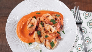 Grilled Shrimp with Red Pepper Sauce and Parsley Salad