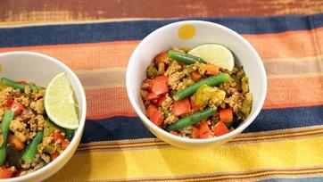 Green Chili Turkey and Cilantro Rice Bowl