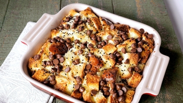 Chocolate Chip Sesame Bread Pudding