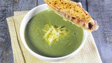 Broccoli Cheddar Soup with Cheddar Crostini