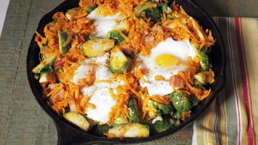 Baked Eggs with Sweet Potato Brussels Sprouts Hash