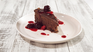 Dark Chocolate Cheesecake with Bourbon Cherries