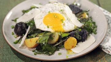 Anti-Valentine\'s Day Salad with Bitter Greens and Smashed Sunny-Side Up Eggs
