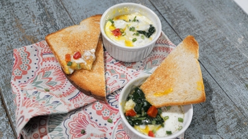 Coddled Eggs with Spinach and Goat Cheese